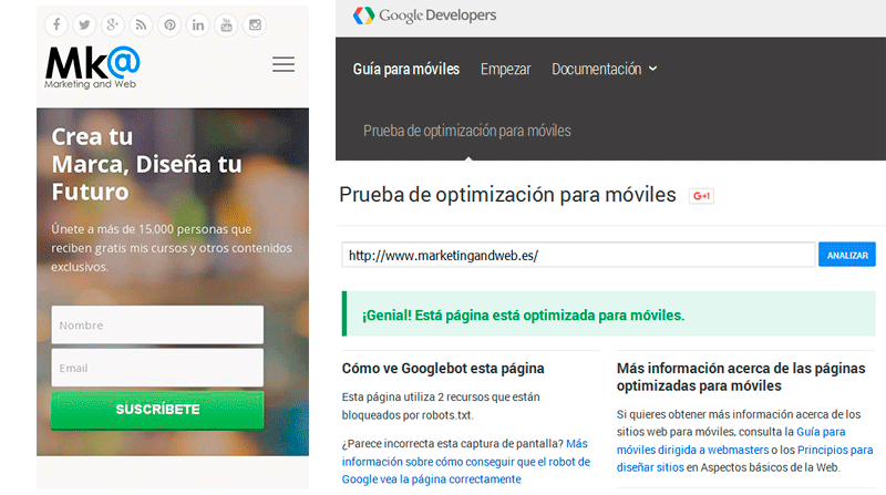 diseño web responsive del blog Marketing and Web